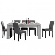 Комплект рустикална маса за хранене с 6 стола [en.casa]® Helsinki, 170 x 79 cm, изкуствена кожа, Бял Дъб/Тъмносив