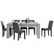 [en.casa] Set de comedor mesa 'Helsinki' (blanca - 170 x 79 cm) 6 sillas (tapizadas - gris oscuro) - set ahorro