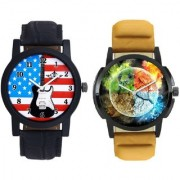 3D Round Art With Star USA Guitar SCK Combo Gallery Wrist Watch