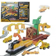 Halo Nation Engineering Theme Track Play Set Railroad Tracks w/ Battery Operated Train & 7 Toy Vehicles