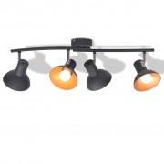 vidaXL Спот лампа за 4 крушки, E27, черно и златисто