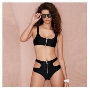 Trajes de Baño bikini de estilo sexy de dos piezas con cremallera decorado color negro