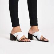 River Island Womens White leather cross heel mule sandals (3)