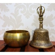 Bol cantator si clopotel tibetan antique 21cm