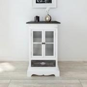 vidaXL Бял дървен шкаф с 2 вратички и 1 чекмедже