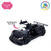 Smiles Creation Kinsmart 1:36 Scale Gull Wing Style Openable Doors 2010 Gumpert Apollo Sport Car Toys, Black (5-inch)