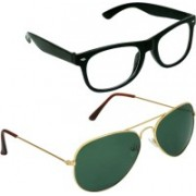 SPY RAYS COLLECTION Aviator, Wayfarer Sunglasses(Green, Clear)