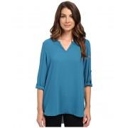 Karen Kane Roll Tab Shirttail Top Baltic Blue