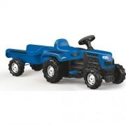 Tractor de jucarie pentru exterior cu pedale, claxon, spatar si remorca Ranchero Dolu Albastru