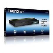 Trendnet TPE-TG160g Switch PoE+ a 16 Porte Gigabit, non Gestibile, 10/100/100 Mbps, 802.3af, 802.3at, PoE, Kit di Montaggio a Rack, Nero