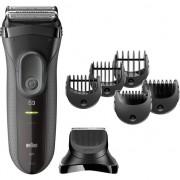 Aparat de ras Braun Series 3 3000 BT, Shave&Style 3 in 1 cu 5 accesorii de tuns, Negru