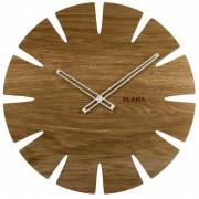 Velké dubové hodiny VLAHA ORIGINAL vyrobené v Čechách se stříbrnými ručkami VCT1031