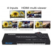 HDMI Switch 4x1 Quad Multi-viewer with Seamless Switcher & IR Remote