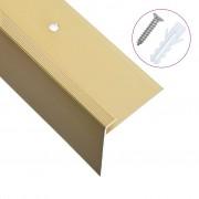 vidaXL F-образни ръбове за стъпала, 15 бр, алуминий, 100 см, златисти