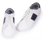 Abelardo De Moda Abelardo De Moda White/Navy Faux Leather Sneaker Sneakers For Men(White)