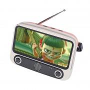 TV300 5W Retro TV Design Wireless Bluetooth Support TF/USB/AUX/FM Speaker - Pink