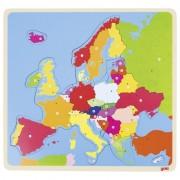 Puzzle din lemn Harta Europei Goki, 35 piese, 32 x 30 cm