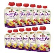 Holle 12 x Bio-Pouchy ab dem 8. Monat Apfel & Pfirsich mit Waldbeeren (12x90g)