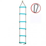 Tuko Climbing Rope Ladder Playground Swing Sets Tree House Accessories Sturdy Nylon Enamel Coated Smooth Metal Rungs (Blue)