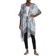 Melrose and Market Raw Hem Tie-Dye Print Ruana GREY COMBO