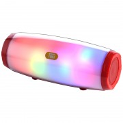 Portable Wireless Speaker Bluetooth V5.0 Stereo Sound Speaker Wireless Deep Bass with Colorful LED Light - Red