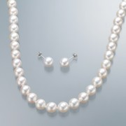花珠真珠 8mm珠 ネックレス&イヤリング/ピアス セット【QVC】40代・50代レディースファッション