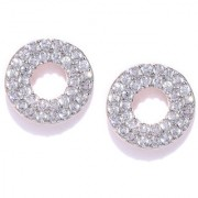 Zaveri Pearls Cubic Zirconia Studded Rose Gold Hollow Circular Shape Stud Earring-ZPFK7978