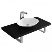 Комплект черен плот 100 x 45 cm с кръгла мивка от бяла керамика