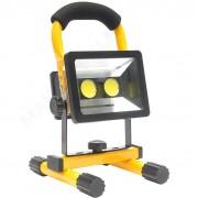Proiector LED 30W Portabil pe Baterie Reincarcabila la 220V sau Auto 12V, Lumina Alb Rece