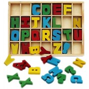 Blossom 26 Letters Wooden Alphabet Blocks for Toddlers,Pre-Schoolers,Nursery kids for learning the Alphabets and its Shape,Multi Color.