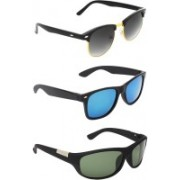 Zyaden Clubmaster, Wayfarer, Wrap-around Sunglasses(Black, Blue, Green)