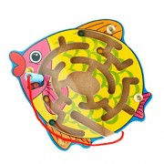 Anbau Wooden Puzzles Magnet Beads Slot Maze Board Game Magnetic Pen Labyrinth-Fish Eduactional Handcraft Toys