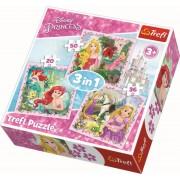 Puzzle Trefl 3 in 1, Disney Princess, 20/36/50 piese