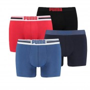Puma boxershorts Placed Logo 4-pack Rood/Blauw-S