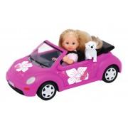Papusa Evi Love cu masina Beetle si catelus