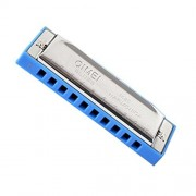 Blues Mouth organ Key of C blue Harmonica Silvery coverplate 10 Hole