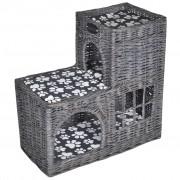 vidaXL Къща/легло/замък/дърво за котки от върба с мека възглавница