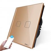 Intrerupator dublu Zigbee WiFi cu touch Cnskou, panou tactil de sticla cristal, auriu