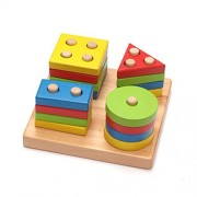 Star Mall Wooden Building Blocks Geometric Shape Sorting Board Baby Plan Toys