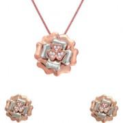 Mahi Crystal Floral Heart Rose Gold Rhodium Plated Pendant Set for Women NL110