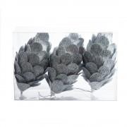 Set 3 conuri argintii cu sclipici, decoratiune pentru brad