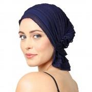 Chemo Beanies® - Headwear Covers for Hair Loss Betty (Navy Blue Ruffle)
