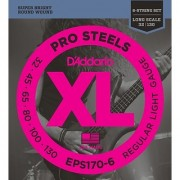 D'Addario EPS170-6 6-String ProSteels Bass Guitar Strings Light 32|130 Long Scale