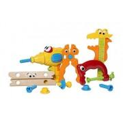 MooToys práctico Juego de Herramientas con Herramientas de Juego Incluye Taladro de plástico eléctrico y Herramientas de simulación para bebés, Amarillo (MT-110)
