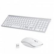 Combo inalambrico con teclado y mouse compacto compacto y silencioso de tamano completo - blanco
