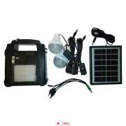 Sistem Iluminare LED cu Incarcare Solara, 2 Becuri LED si Lampa Portabila cu FM si MP3 player GD-8052 + Lanterna 9LED