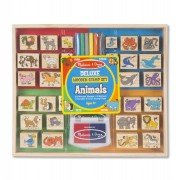 Melissa and Doug Set stampile din lemn Animale Deluxe
