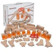 110 PCs Orbrium Toys Multi-Level Wooden Train Track Expansion Pack with Stackable Track Riser Stabilizers Generic Fits Thomas Brio Chuggington Set