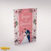 Invitaţie de nuntă cu Miri şi Flori, roz pal şi verde