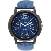 RJL Round Dial Blue Leather Strap Men's Watches